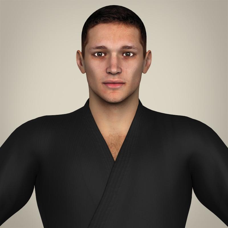 realistic male karate master 3d model 3ds max fbx c4d lwo ma mb texture obj 211713