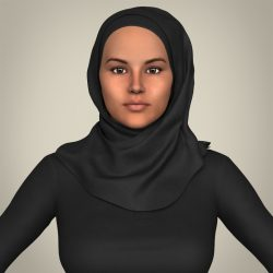 Realistic Islamic Woman 3d model 0