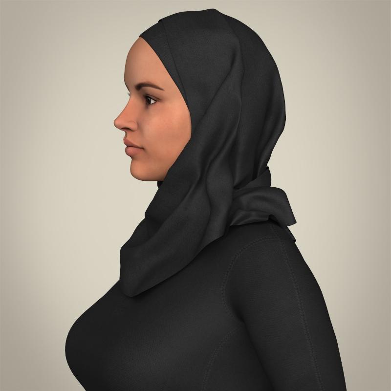 realistic islamic woman 3d model 3ds max fbx c4d lwo ma mb texture obj 211756