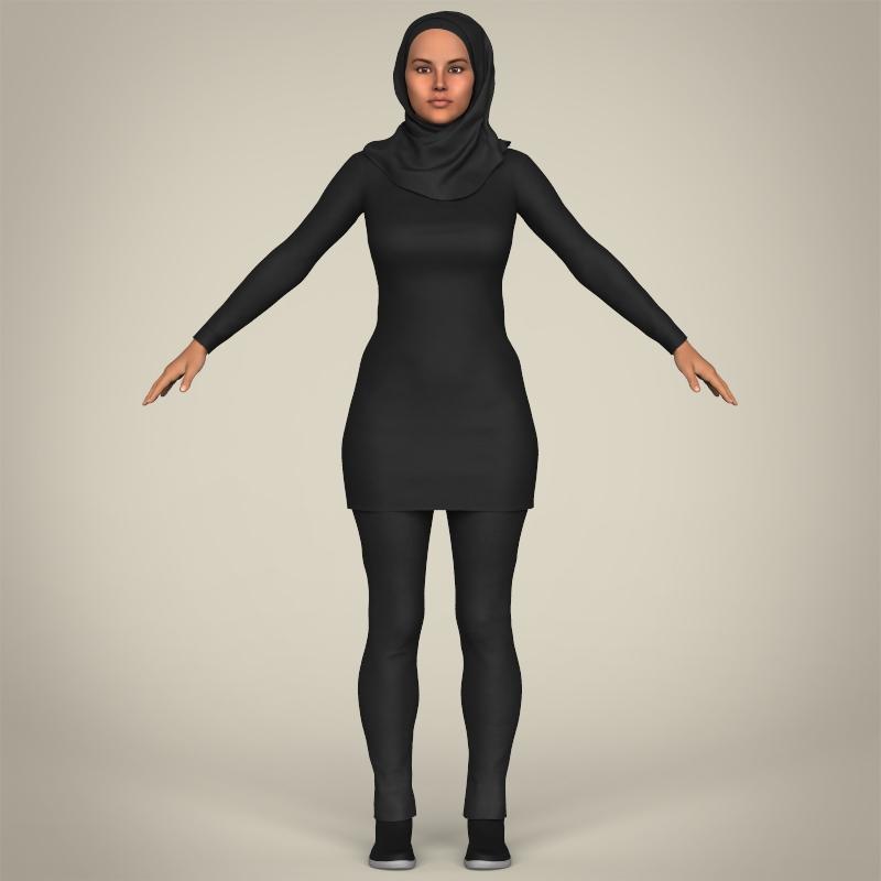 realistic islamic woman 3d model 3ds max fbx c4d lwo ma mb texture obj 211762