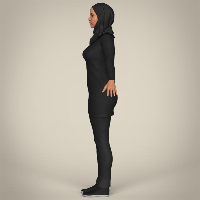 realistic islamic woman 3d model 3ds max fbx c4d lwo ma mb texture obj 211763