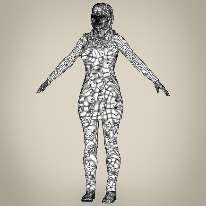 realistic islamic woman 3d model 3ds max fbx c4d lwo ma mb texture obj 211776