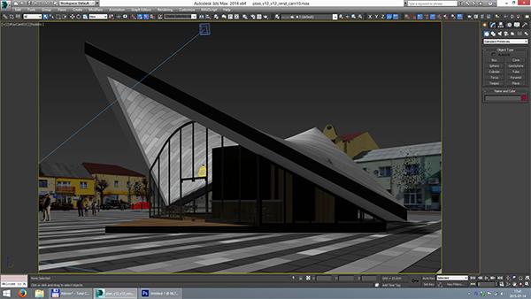 ekspozīcijas paviljons pilsētas laukumā (gatavs) 3d modelis max fbx c4d jpeg jpg tekstūra obj 212057