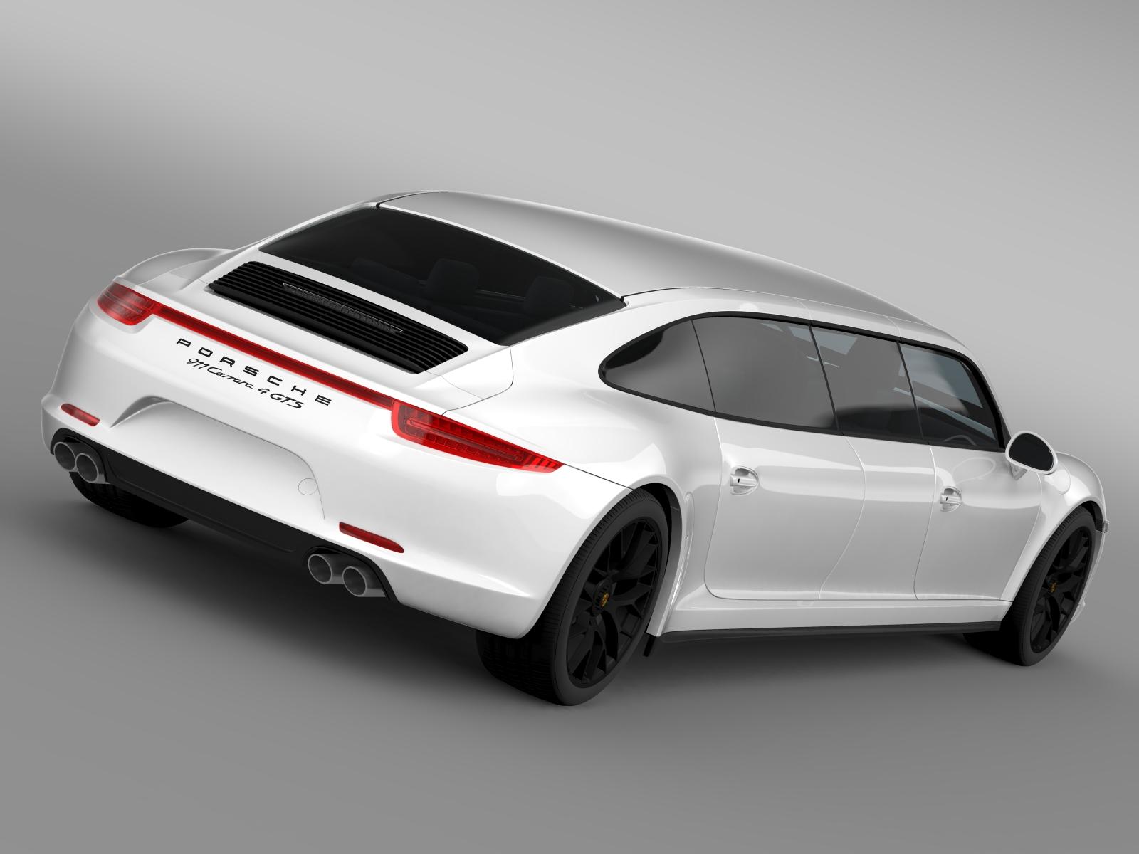 porsche 911 carrera 4 gts limousine 2016 3d model buy porsche 911 carrera 4 gts limousine 2016. Black Bedroom Furniture Sets. Home Design Ideas