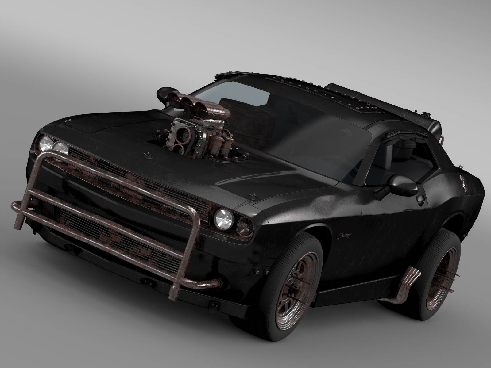mad max fight interceptor dodge challenger 2015 3d model 3ds fbx c4d lwo ma mb hrc xsi obj 212266