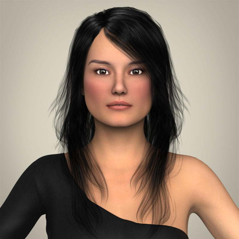 realistic beautiful pretty girl 3d model 3ds max fbx c4d lwo ma mb texture obj 212326