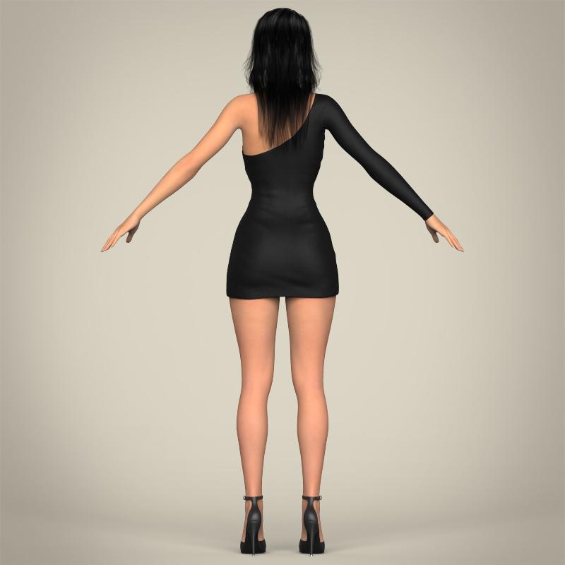 realistic beautiful pretty girl 3d model 3ds max fbx c4d lwo ma mb texture obj 212337