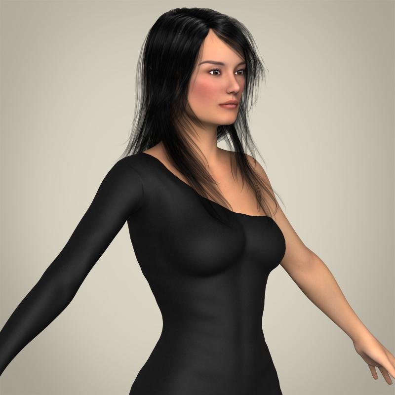 realistic beautiful pretty girl 3d model 3ds max fbx c4d lwo ma mb texture obj 212339