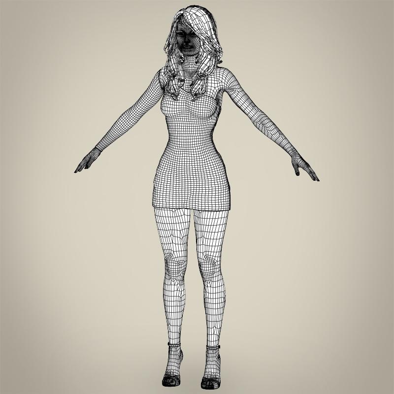 realistic beautiful pretty girl 3d model 3ds max fbx c4d lwo ma mb texture obj 212345