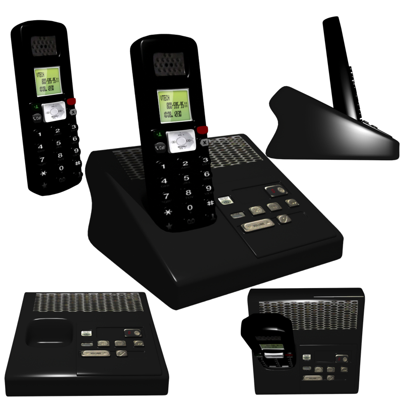 cordless phone 3d model obj 212358