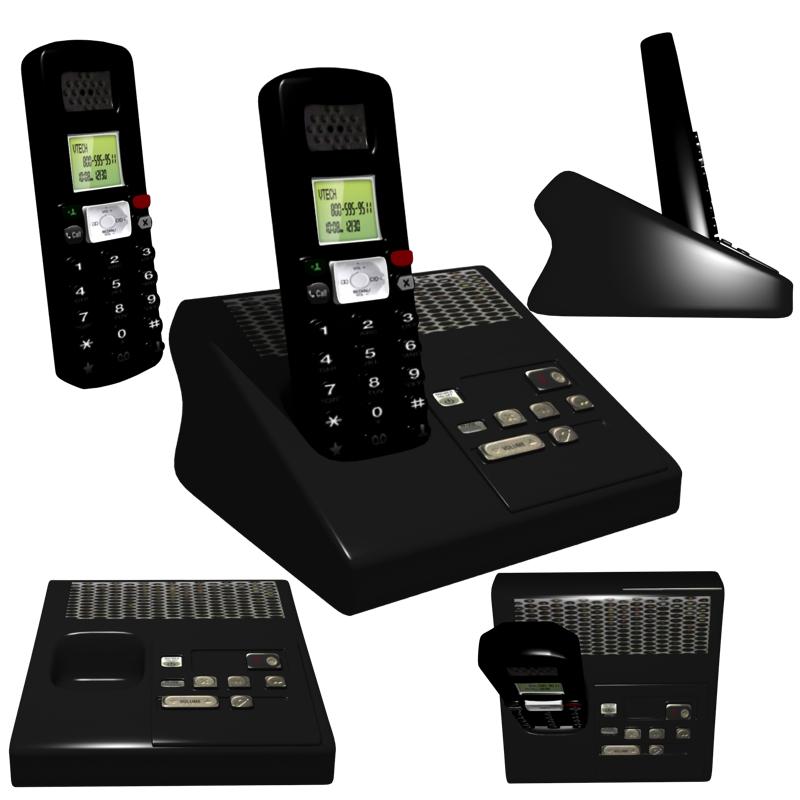 telèfon sense fils model 3d obj 212358