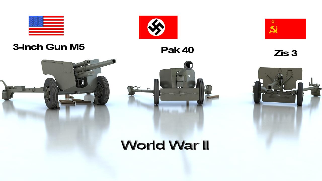 anti tank guns ww2 3d model max 212464