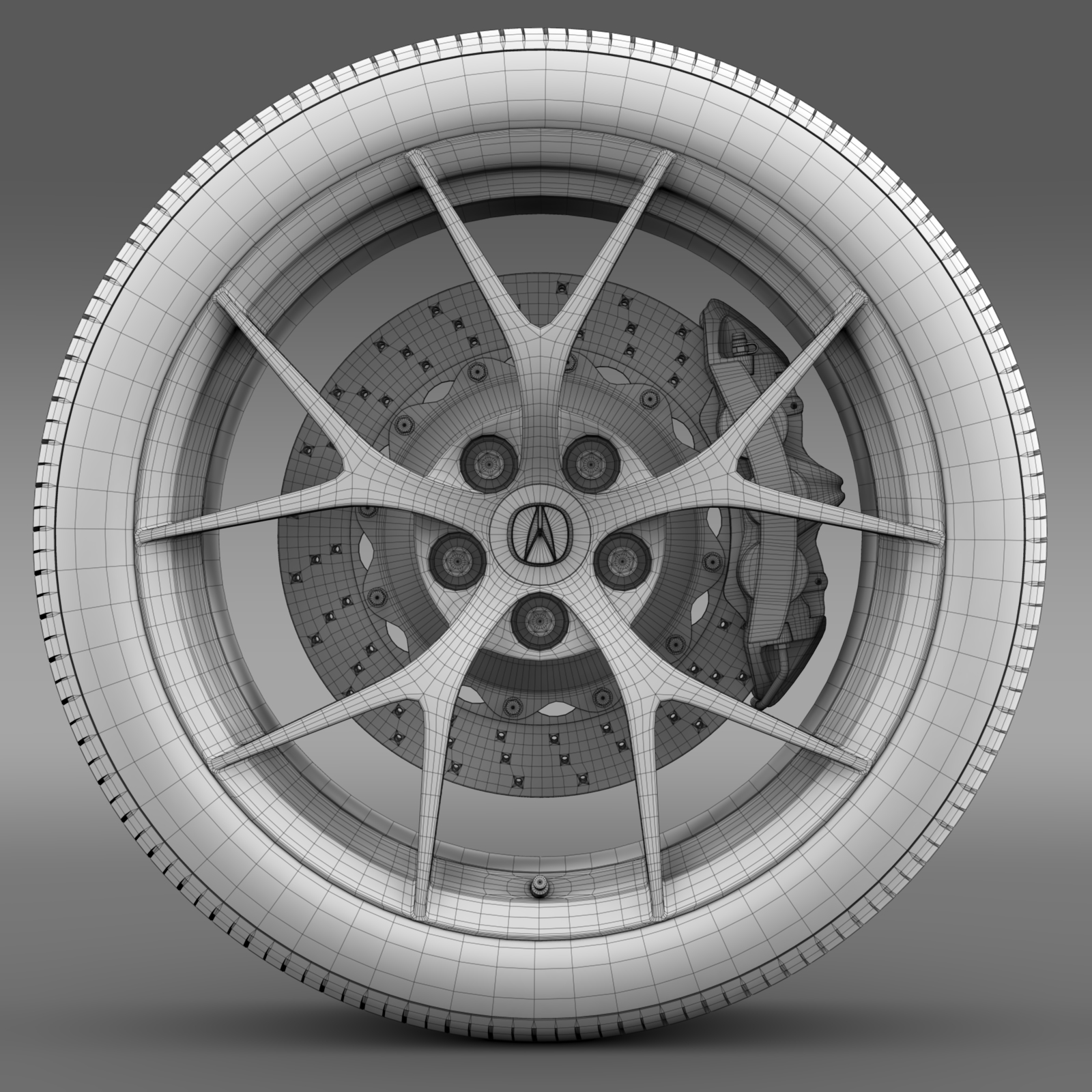 acura nsx wheel 2015 3d model 3ds max fbx c4d lwo ma mb hrc xsi obj 212656