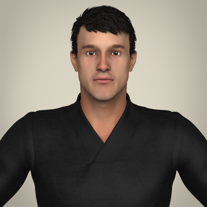 realisitc young handsome male 3d model 3ds max fbx c4d lwo ma mb texture obj 212669