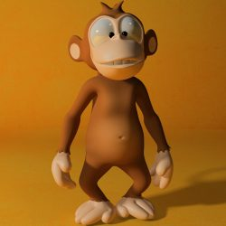 Cartoon monkey RIGGED 3d model 0