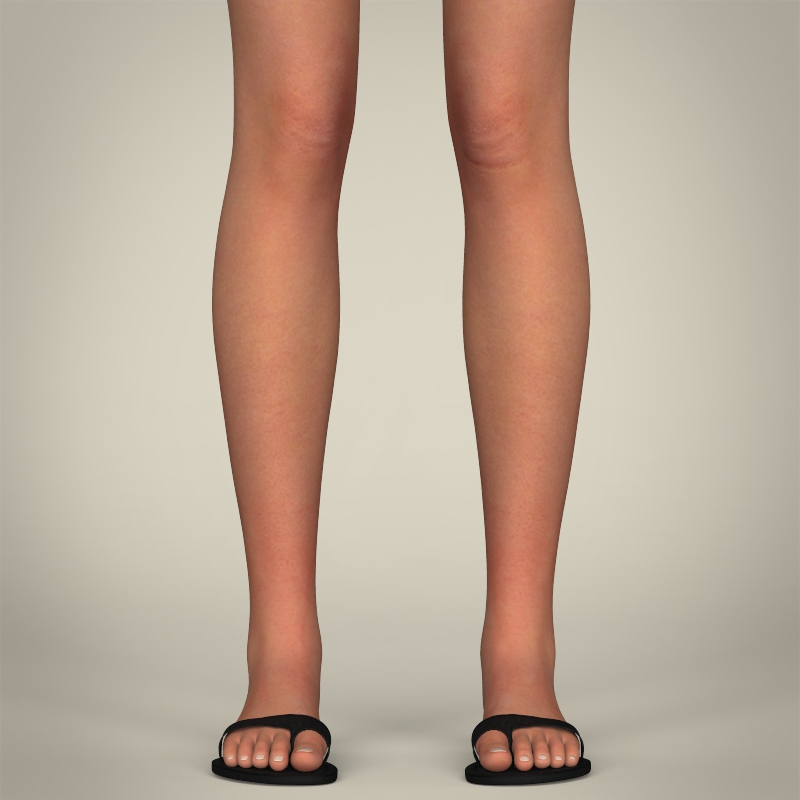 realistic pretty teen girl 3d model 3ds max fbx c4d lwo ma mb texture obj 212910