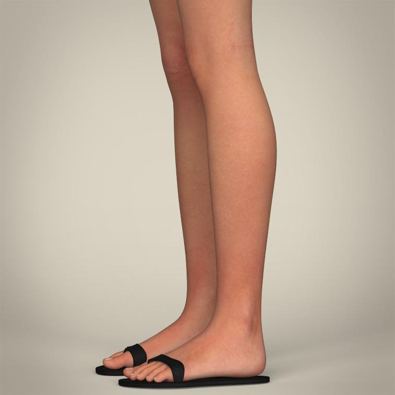 realistic pretty teen girl 3d model 3ds max fbx c4d lwo ma mb texture obj 212912