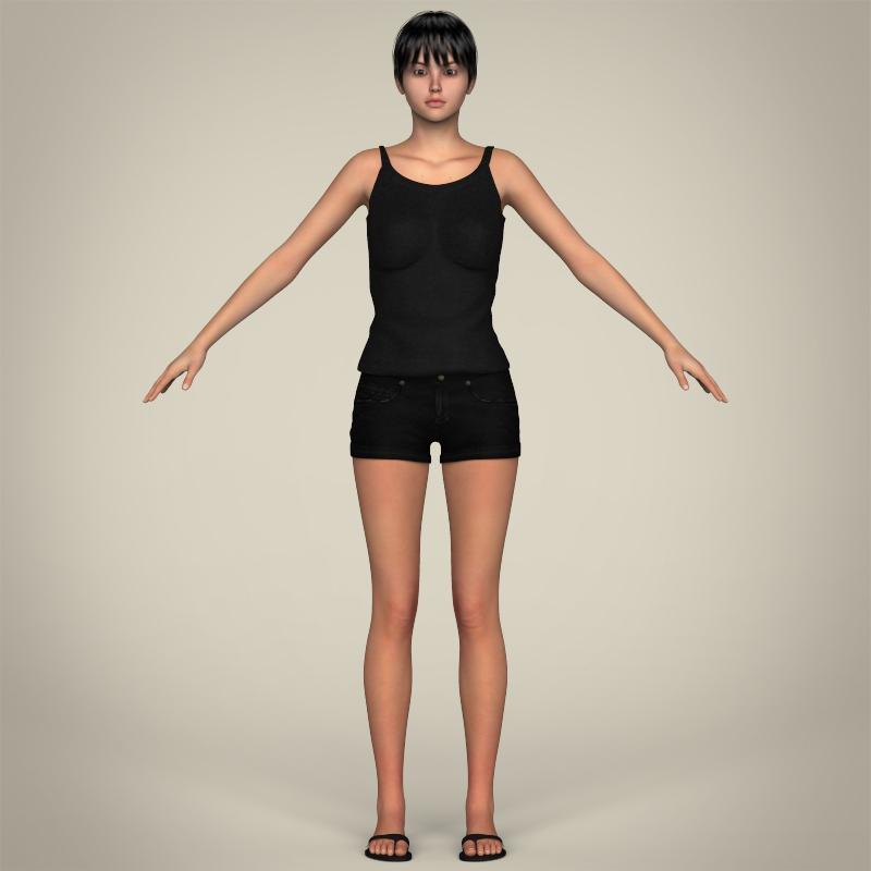 realistic pretty teen girl 3d model 3ds max fbx c4d lwo ma mb texture obj 212913