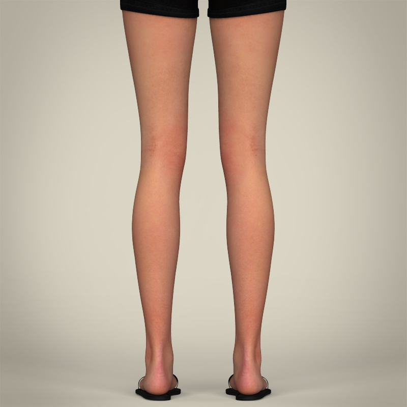 realistic pretty teen girl 3d model 3ds max fbx c4d lwo ma mb texture obj 212916