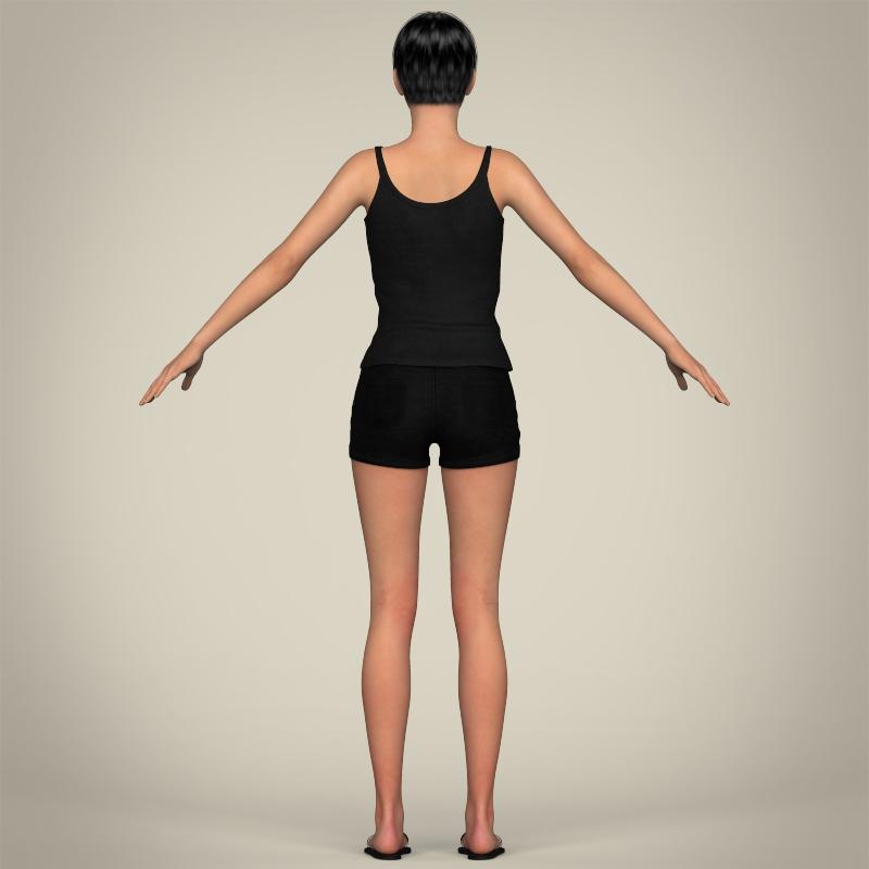 realistic pretty teen girl 3d model 3ds max fbx c4d lwo ma mb texture obj 212917