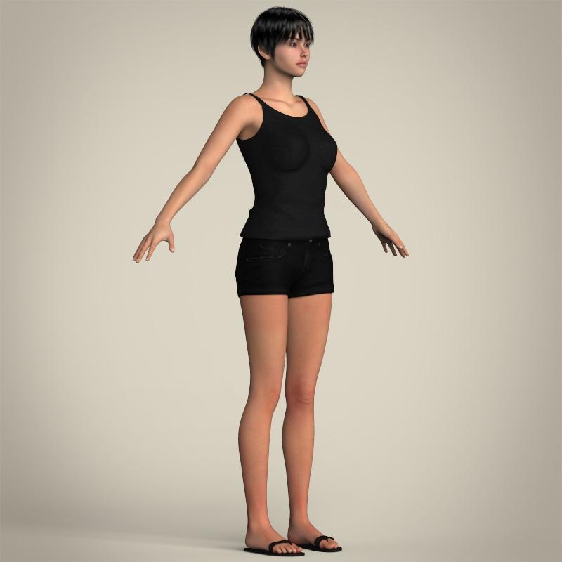 realistic pretty teen girl 3d model 3ds max fbx c4d lwo ma mb texture obj 212918
