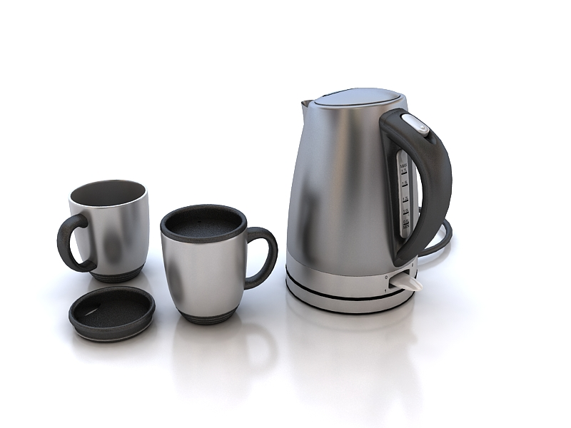electric kettle and mugs 3d model max 212978