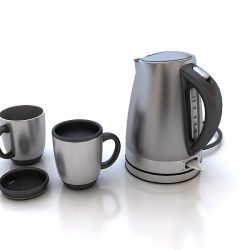 Electric Kettle and Mugs 3d model 0