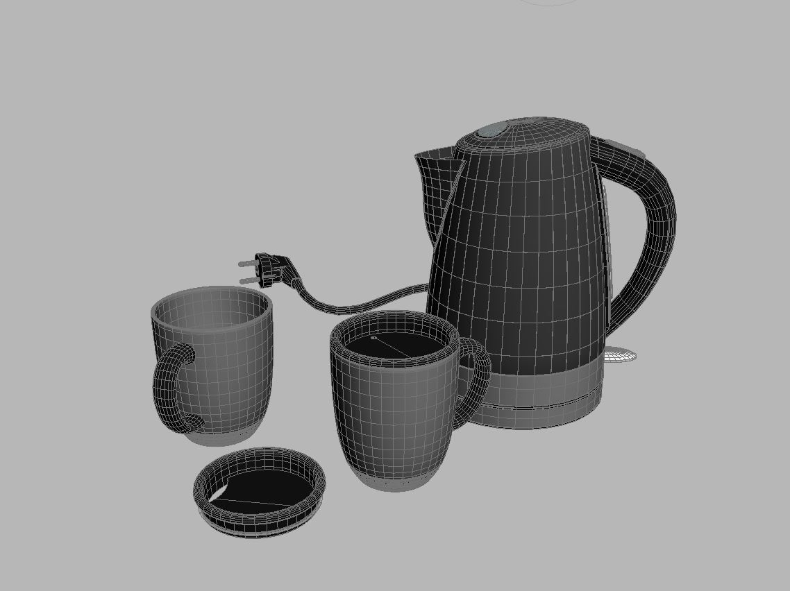 electric kettle and mugs 3d model max 212983