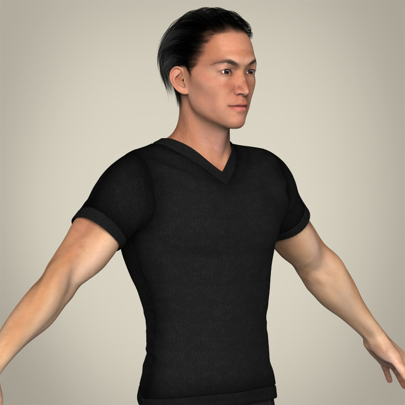 realisitc young japanese man 3d model 3ds max fbx c4d lwo ma mb texture obj 212998