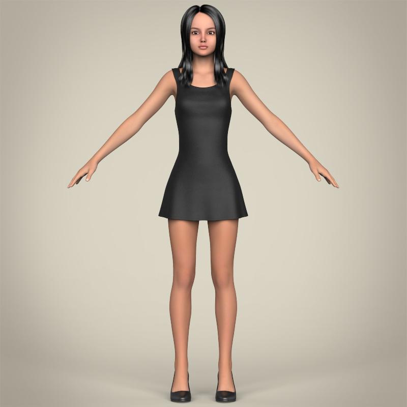 realistic beautiful teenage girl 3d model 3ds max fbx c4d lwo ma mb texture obj 213018