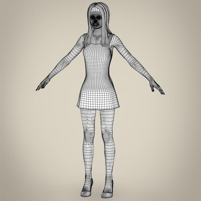realistic beautiful teenage girl 3d model 3ds max fbx c4d lwo ma mb texture obj 213031
