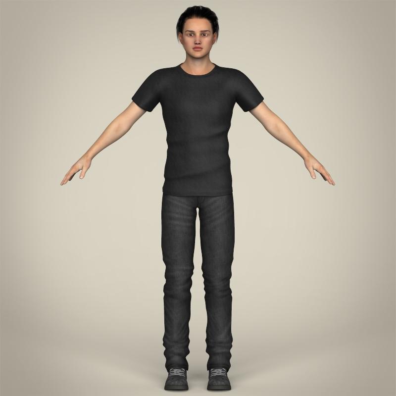 realistic handsome teenage boy 3d model 3ds max fbx c4d lwo ma mb texture obj 213071