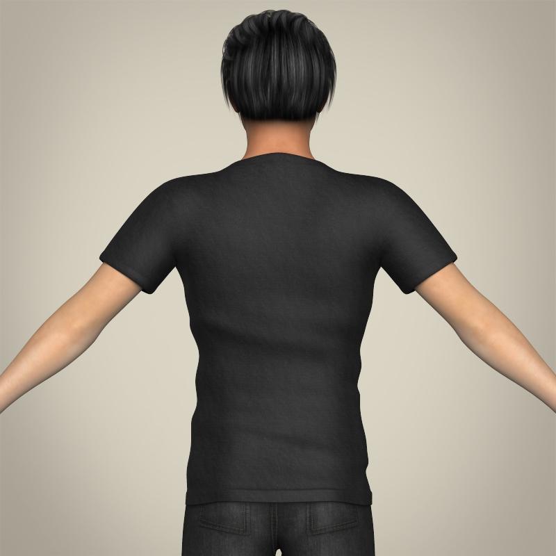 realistic handsome teenage boy 3d model 3ds max fbx c4d lwo ma mb texture obj 213073
