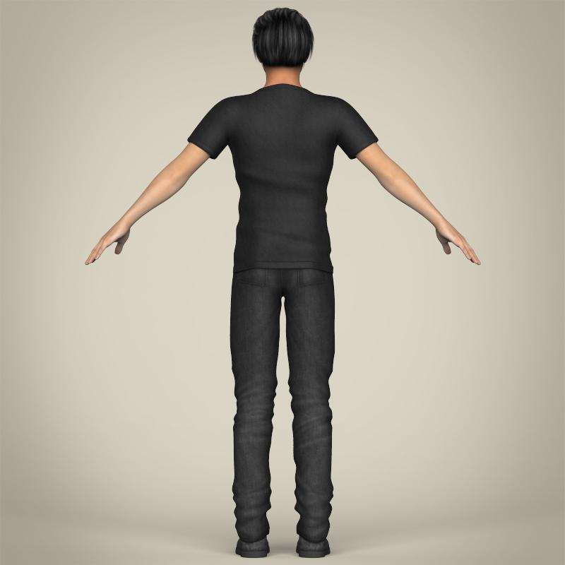realistic handsome teenage boy 3d model 3ds max fbx c4d lwo ma mb texture obj 213075