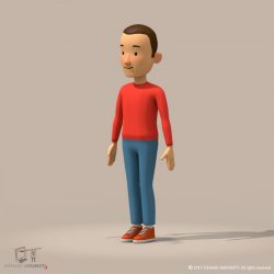 cartoon man 3d model 0