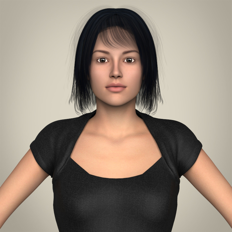 realistic beautiful modern woman 3d model 3ds max fbx c4d lwo ma mb texture obj 213377