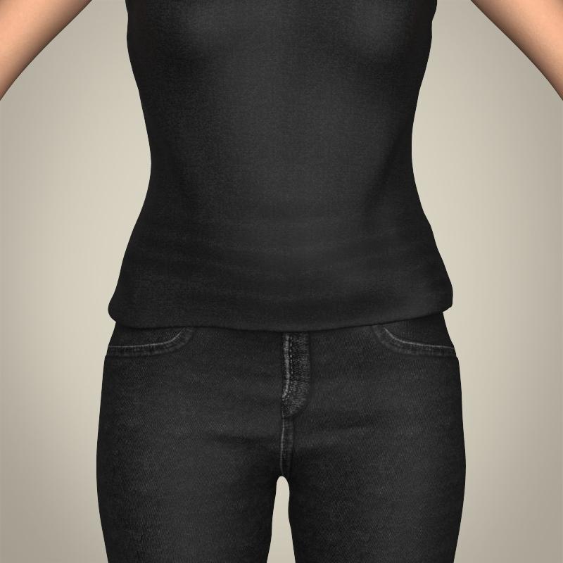 realistic beautiful modern woman 3d model 3ds max fbx c4d lwo ma mb texture obj 213379