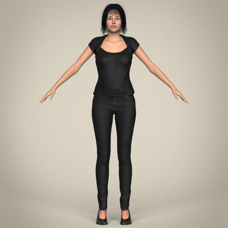 realistic beautiful modern woman 3d model 3ds max fbx c4d lwo ma mb texture obj 213384