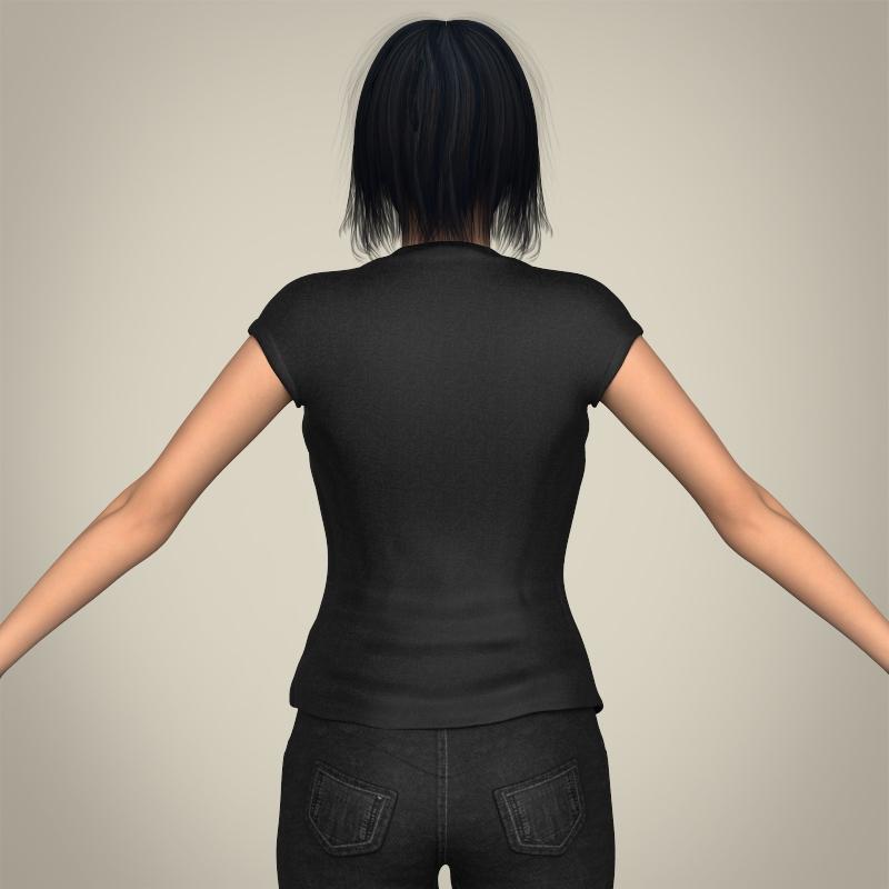 realistic beautiful modern woman 3d model 3ds max fbx c4d lwo ma mb texture obj 213386