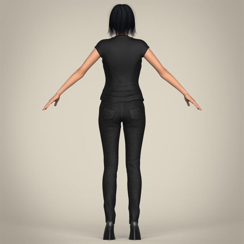realistic beautiful modern woman 3d model 3ds max fbx c4d lwo ma mb texture obj 213388