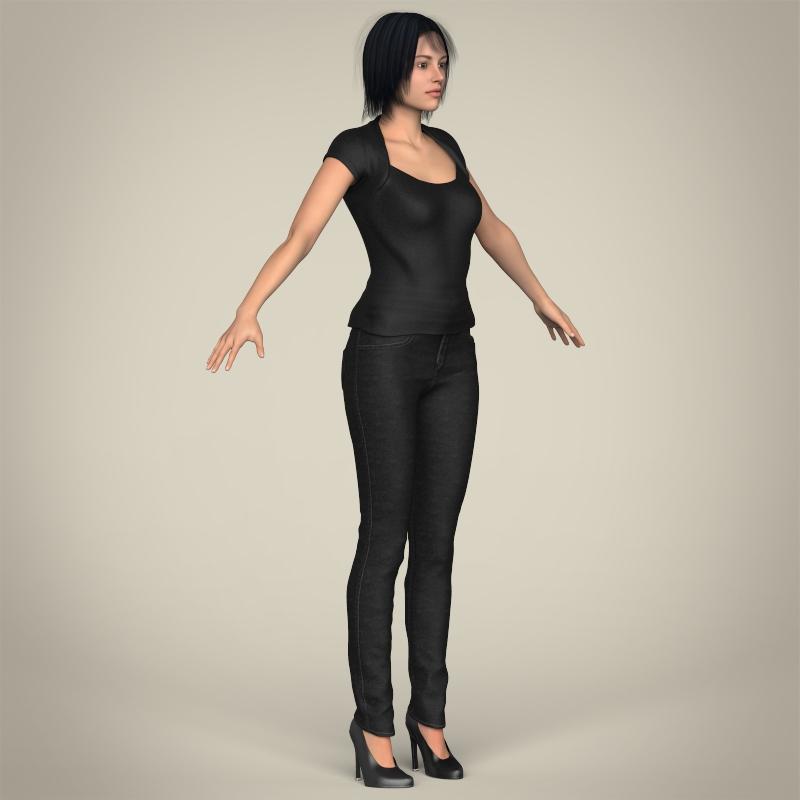 realistic beautiful modern woman 3d model 3ds max fbx c4d lwo ma mb texture obj 213389