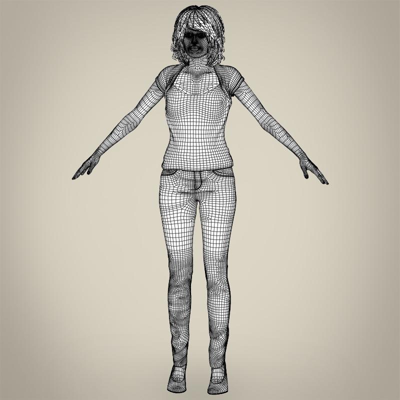 realistic beautiful modern woman 3d model 3ds max fbx c4d lwo ma mb texture obj 213397