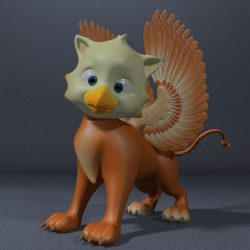 Baby Griffin Rigged 3d model 3ds max fbx  obj