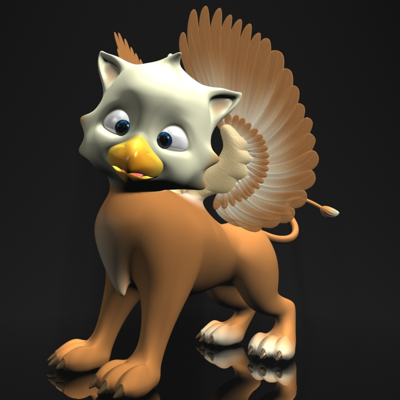 baby griffin rigged 3d model 3ds max fbx obj 213417