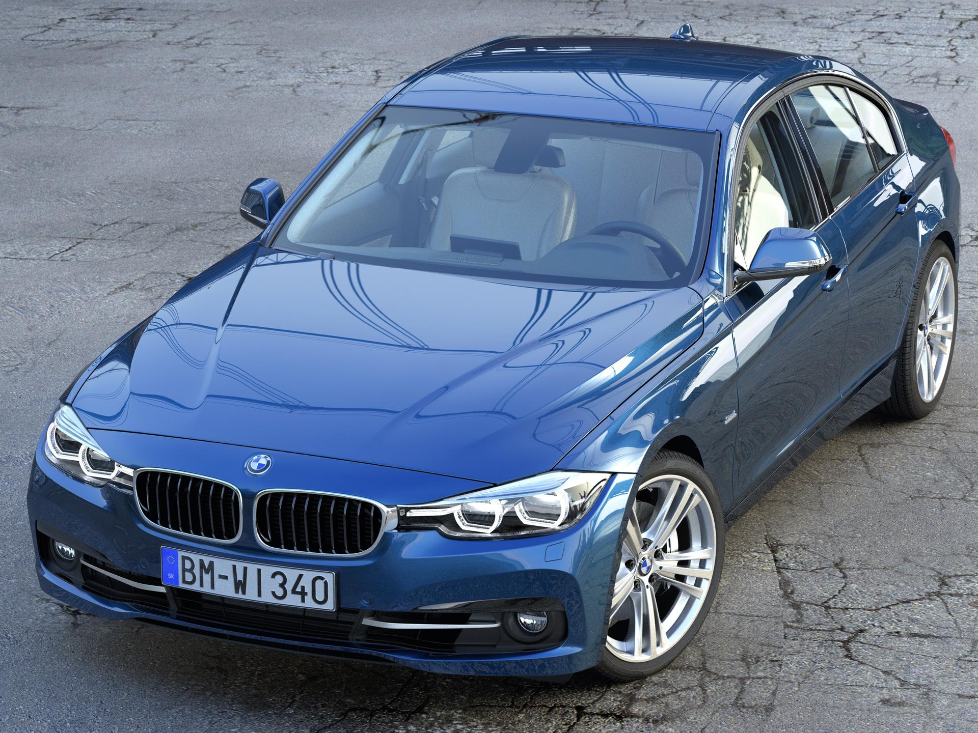 BMW 3 series F30 Sport Line 2016 3d model 3ds max fbx c4d obj 213446