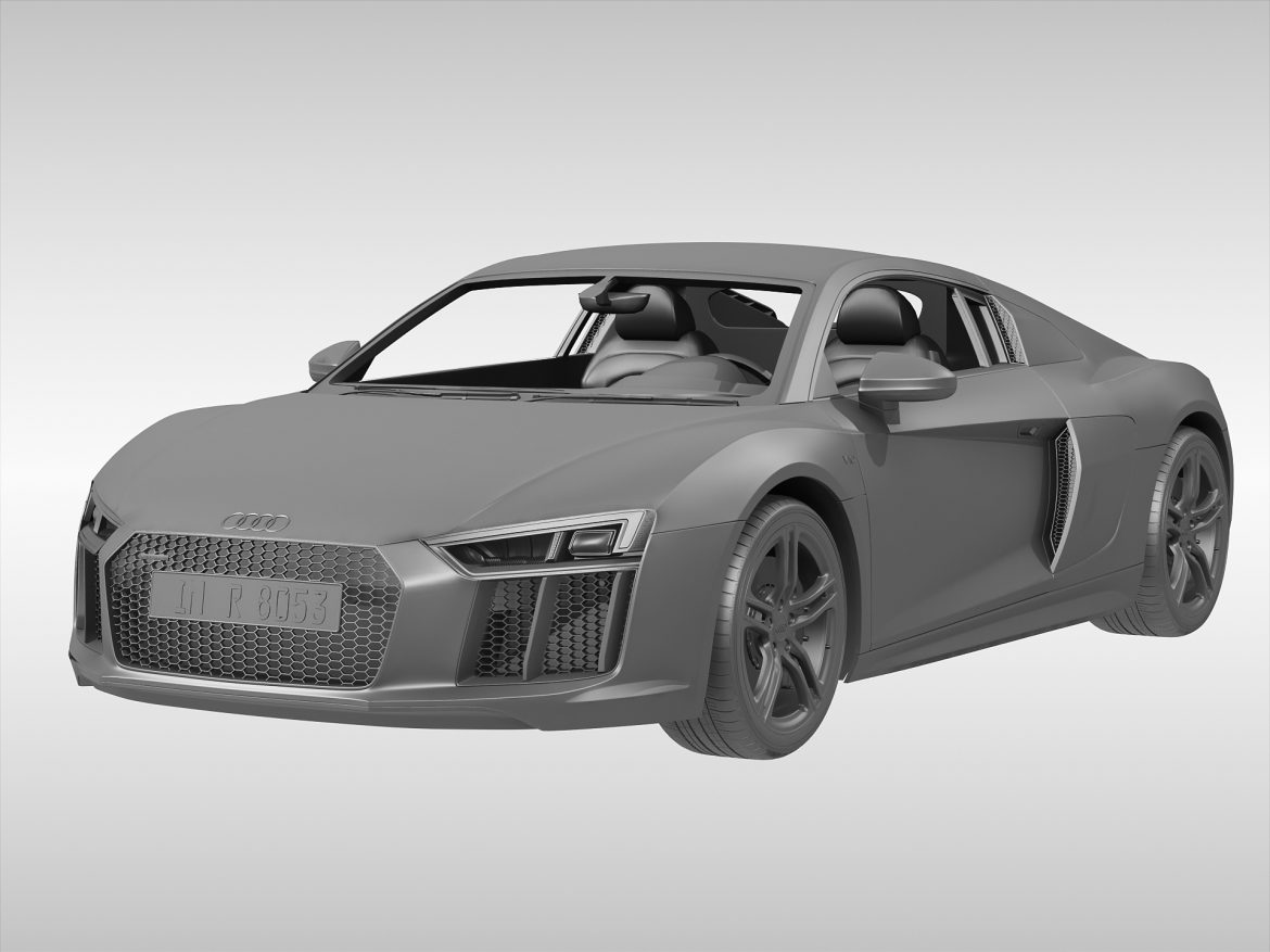audi r8 v10 coupe (2016) 3d model 3ds max fbx obj 213486