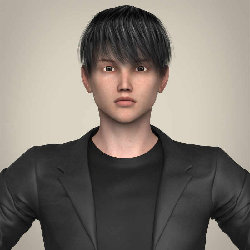 realistic young handsome boy 3d model 3ds max fbx c4d lwo ma mb texture obj 213520