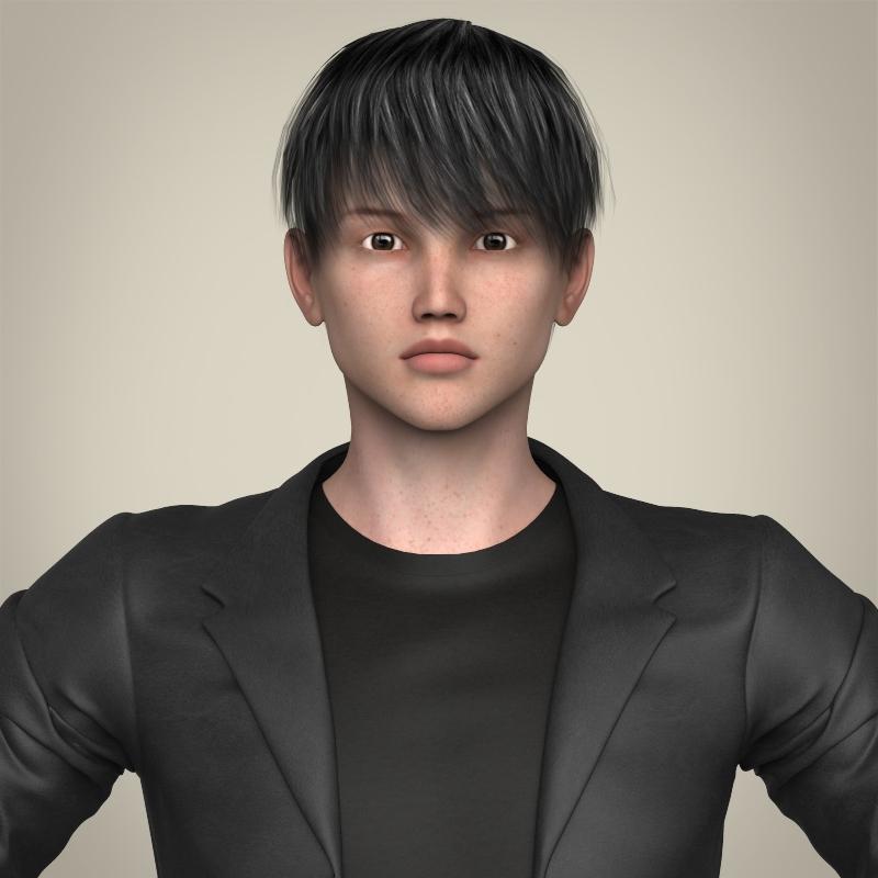 Realistic Young Handsome Boy 3d model 3ds max fbx c4d lwo lws lw ma mb  obj 213520