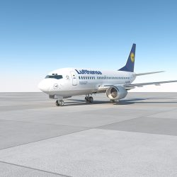 B737-500 lufthansa with interior 3d model 0