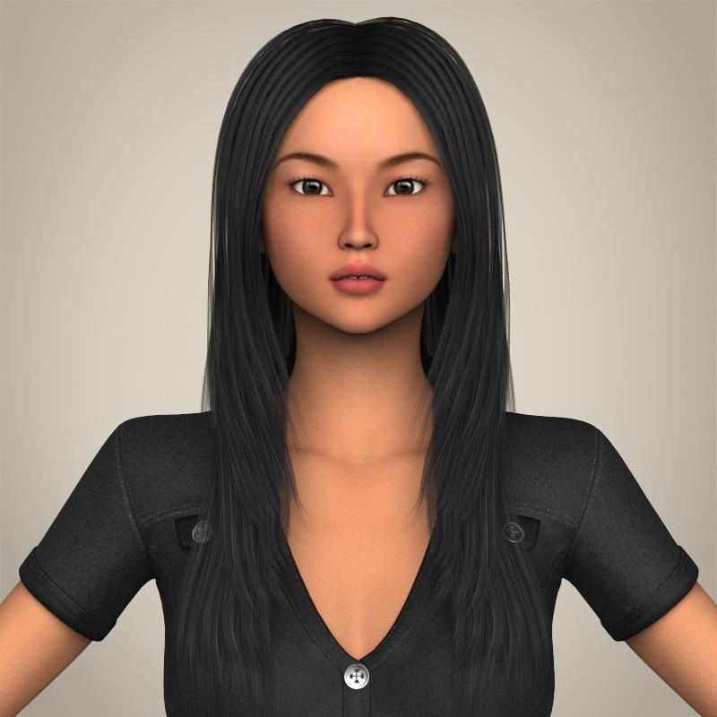 Realistic Japanese Beautiful Girl 3d model 3ds max fbx c4d lwo lws lw ma mb  obj 213765